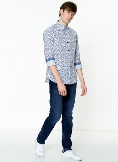 Lee Cooper Desenli Uzun Kollu Gömlek Mavi